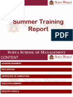 Presentation on Summer Training Report Making