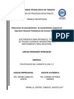 Elaboración de Procedimientos de Mantenimiento Máquina de Impresión Flexotech Polietilenos Del Sureste S.a de C.V
