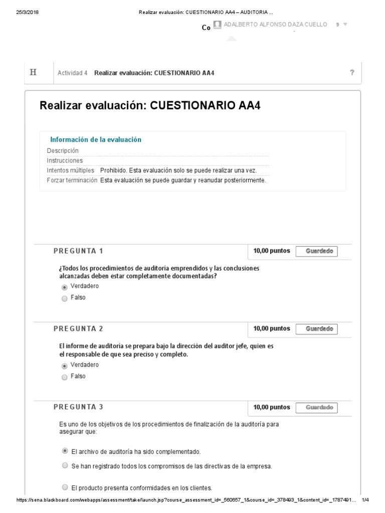Realizar Evaluación_ Cuestionario Aa4 – Auditoria ..