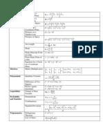 Formula Sheet English