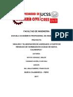 PROYECTO ¨ANALISIS Y ELABORACIÓN DE AGREGADO A PARTIR DE RESIDUOS DE HORMIGÓN EN CIUDAD DE NUEVA CAJAMARCA ¨