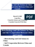 Biotech Life Science in China and S T Cooperation Between China and Canada