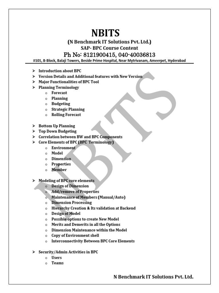 SAP BPC TRAINING | Business Process | Microsoft Excel
