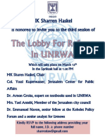 Invitation to Knesset Briefing - Knesset Lobby for UNRWA Reform
