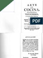 Cocina Libros Antiguos - 1763 - Arte de Cocina, Pasteleria, Bizcocheria, Y Conserveria