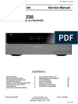 Harman Kardon AVR 155x 230 Service Manual | Electricity