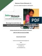 Síntesis Educativa Semanal de Michoacán al 26 de marzo de 2018