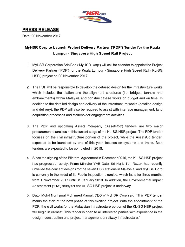 Press Release - MyHSR Corp to Launch Project Delivery