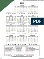 Year 2018 Calendar – South Africa