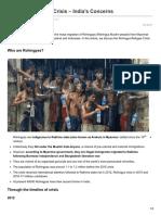 Rohingya Refugee Crisis Indias Concerns
