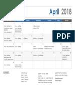 April Calendar 2018