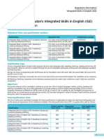 Integrated Skills in English (ISE) Regulatory Information