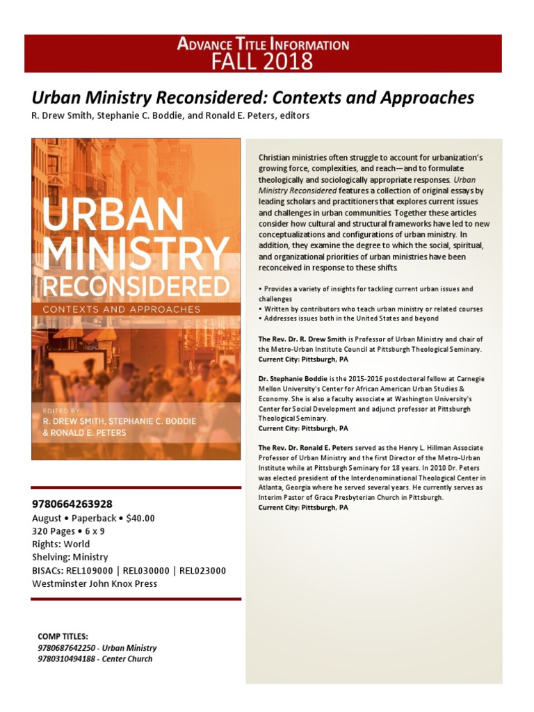 Urban Min Vol Cover Advert   Minister (Christianity)   Theology