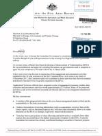 Letter From Senator Anne Ruston to Lily D'Ambrosio MP