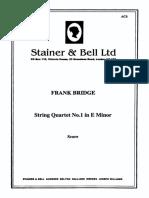 Frank Bridge String Quartet No 1 in E Minor