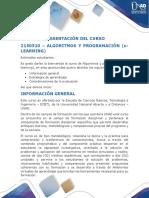 Presentacion Del Curso 2150510 Algoritmos y Programación