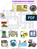 Places at School Criss Cross Crossword Puzzle Vocabulary Worksheet-1