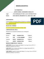 Plano Perimetrico de Terreno-Modelo de Memoria Descriptiva