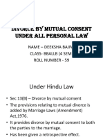 Divorce by mutual consent in all personal laws