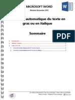 Microsoft Word - Convertir Automatique Du Texte en Gras Ou en Italique
