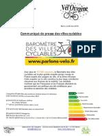 Vél'Oxygène - Baromètre Des Villes Cyclables 2018-Infographie