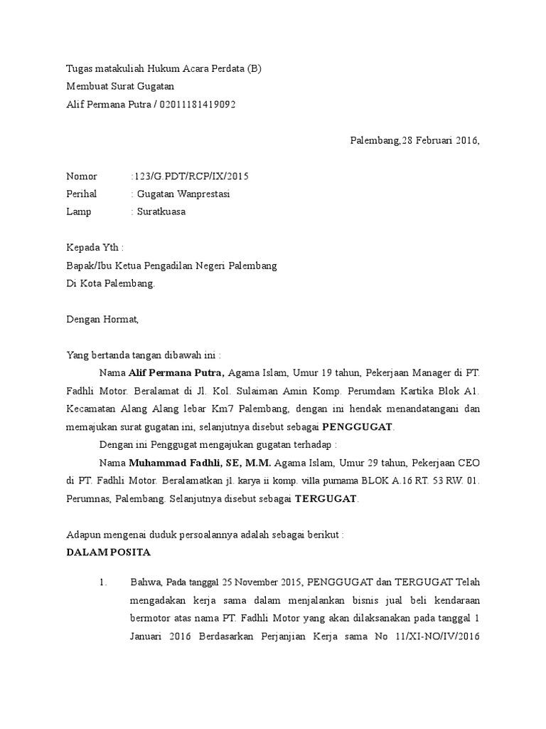 Contoh Surat Gugatan Wanprestasi Dalam H 1