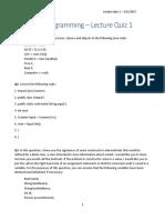 Advanced Programming - Lecture Quiz 1