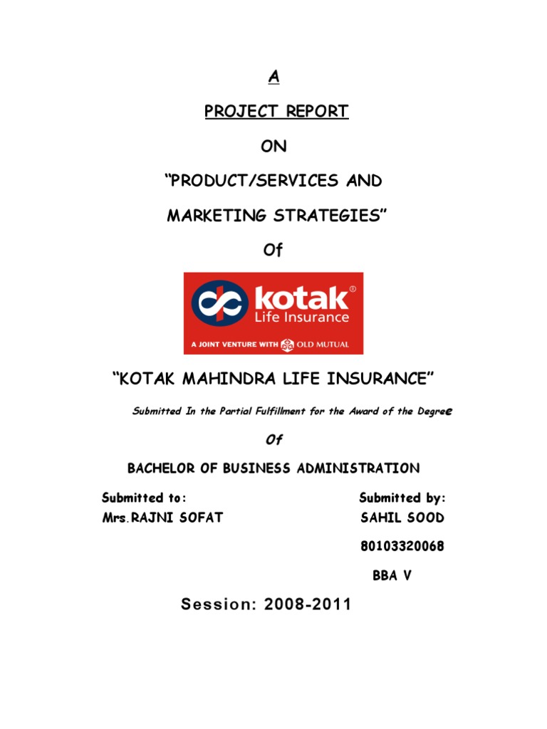 Project Report on Kotak Life Insurance | Insurance | Life ...