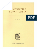 Humanistica Lovaniensia Vol 30 1981 Pdf Florence Chancellor