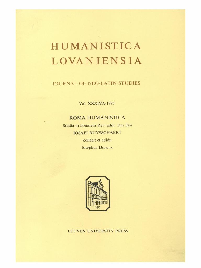 Humanistica Lovaniensia Vol 34A 1985 ROMA HUMANISTICA Studia In