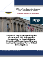 A Special Inquiry Regarding the Accuracy of FBI Statements Concerning its Capabilities to Exploit an iPhone Seized During the San Bernardino Terror Attack Investigation