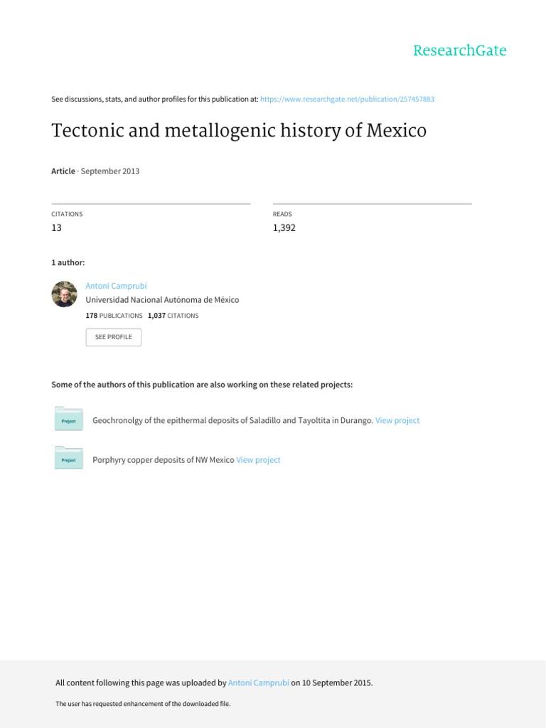 2013 Metallogeniamexic Segsp Sierra Madre Occidental