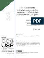 LOPES, Claudivan Sanches; PONTUSCHKA, Nídia Nacib. O Conhecimento Pedagógico Do Conteúdo Na Prática Profissional de Professores de Geografia