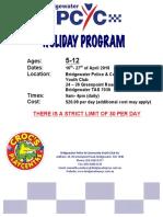 Bridgewater PCYC School Holiday Program