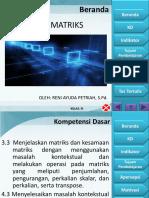 Apersepsi dan  Motivasi Materi Pengertian dan Jenis-Jenis Matriks