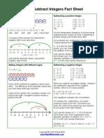 Add Subtract Integers Fact Sheet