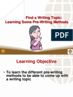 1 Using Pre-writing Strategies