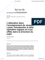 L'aliénation dans l'enseignement de Jacques Lacan. Introduction à cette opération logique et à ses effets dans la structure du sujet