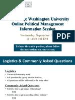 GW Online Political Management Sept 15th Information Session