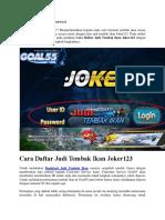 Cara Daftar Judi Tembak Ikan Joker123