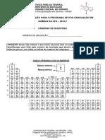 Prova  PPGQ UFS 2012-2