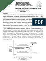 Gabarito Prova  PPGQ UFS 2013-2
