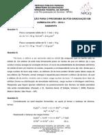 Gabarito Prova  PPGQ UFS 2014-1