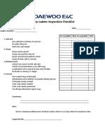 Monthly Ladder Inspection Checklist