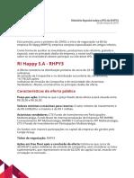 Relatório Especial - IPO de RI Happy
