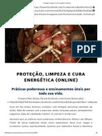 Proteção, Limpeza e Cura Energética (Online)