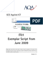 IT01 Exemplar Script and Commentary From June 2009 V1.0