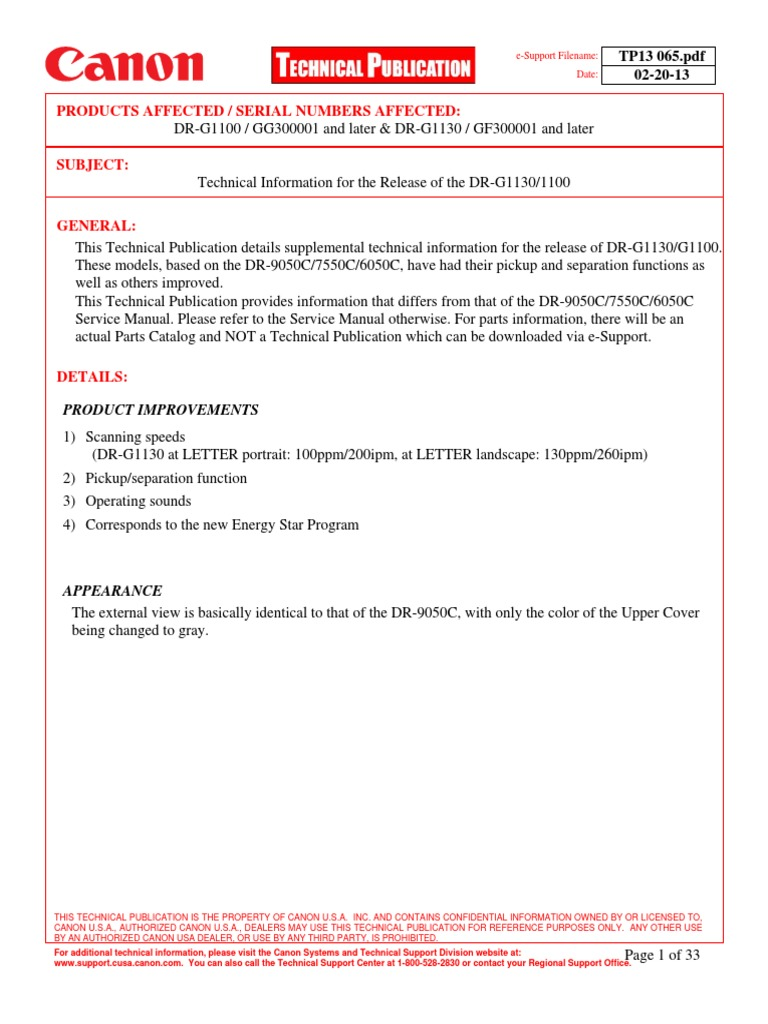 Technical Information for the Release of the DR-G11301100 | Electrical  Connector | Image Scanner