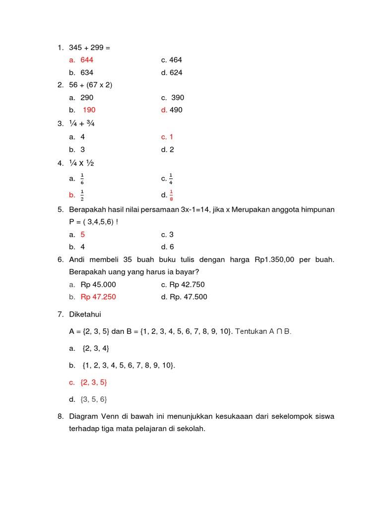 Soal matematika ccuart Choice Image