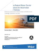 Review of the Federal Motor Carrier Safety Regulations for Automated Commercial Vehicles Preliminary Assessment of Interpretation and Enforcement Challenges, Questions and Gaps